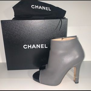 Chanel grey toe cap ankle booties
